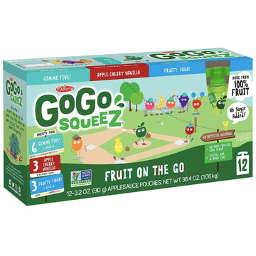 GoGo squeeZ Applesauce, Variety Pack: GIMME 5, Cherry Vanilla, Fruity 4. 3.2oz, 12 Ct