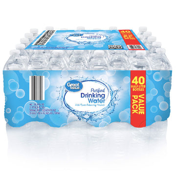 Great Value Purified Water, 16.9 fl oz, 40 Count