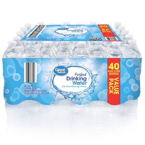 Great Value Purified Water, 16.9 fl oz, 40 Count - Water Butlers