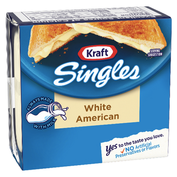 Kraft Singles White American Cheese Slices, 16 Ct