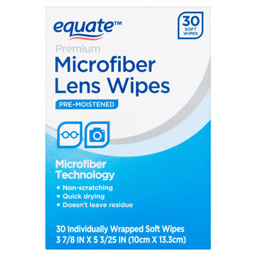 Equate Premium Microfiber Lens Wipes, 30 Count