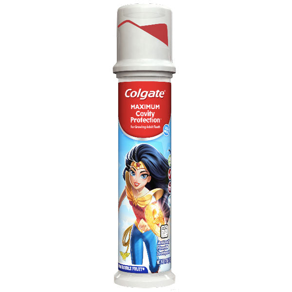 Colgate Maximum Cavity Protection Kids Toothpaste Pump, Wonder Woman, 4.4oz - Water Butlers