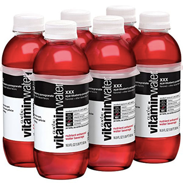 Vitaminwater XXX, Açai-Blueberry-Pomegranate, 16.9 fl oz, 6 Ct - Water Butlers