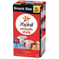 Yoplait Smooth Style Strawberry Vanilla Low Fat Yogurt, Snack Size, 16 Ct - Water Butlers
