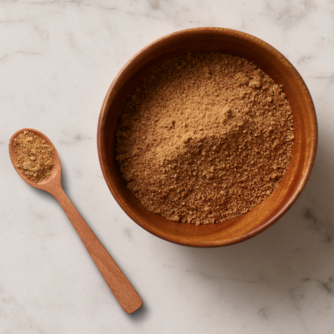 Coconut sugar in a wooden bowl