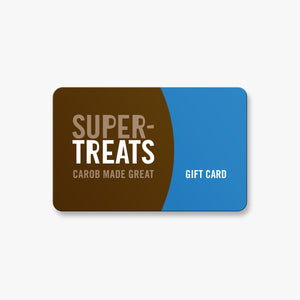 Supertreats carob chocolate gift card, to buy vegan, caffeine free chocolate, sweetened with coconut sugar