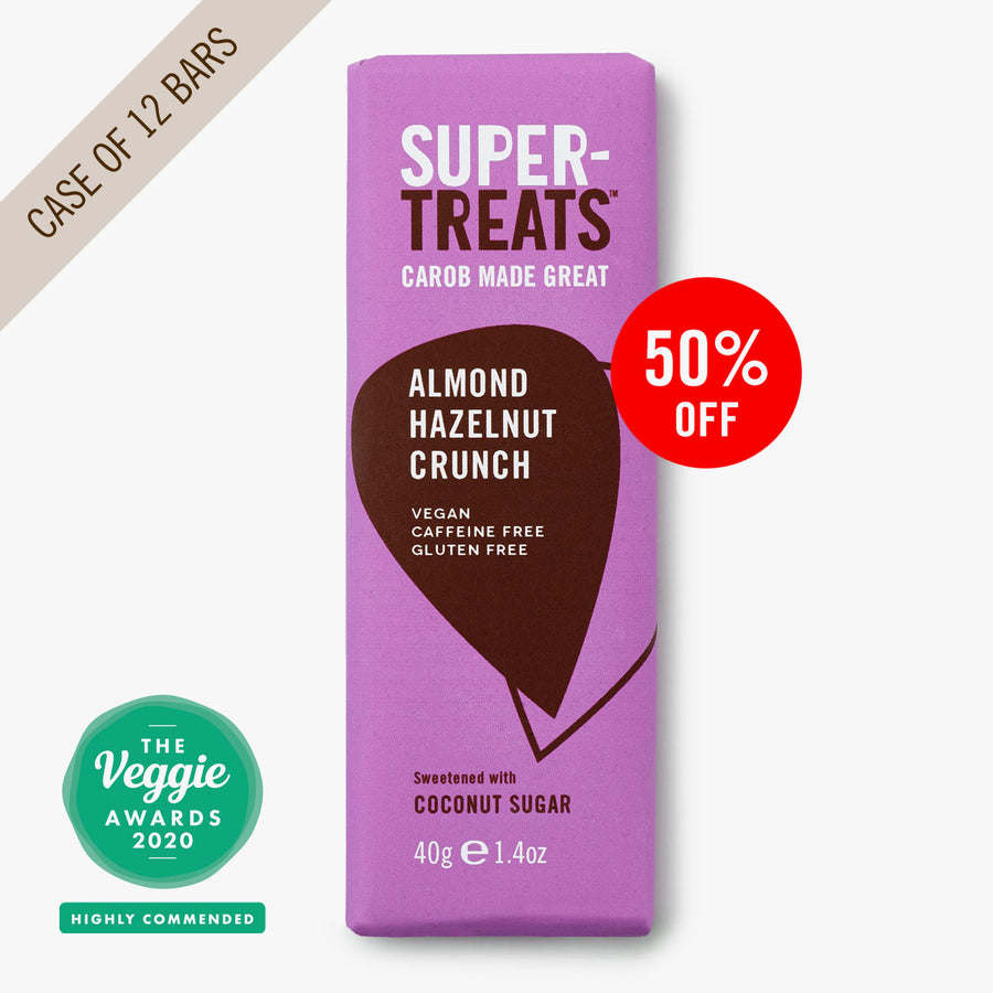 Supertreats Almond Hazelnut Crunch carob chocolate bar, the delicious caffeine free vegan chocolate substitute