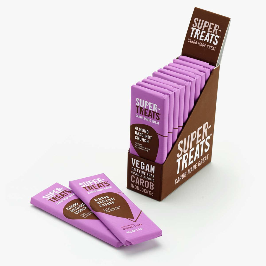Case of Supertreats Almond Hazelnut Crunch carob chocolate bars