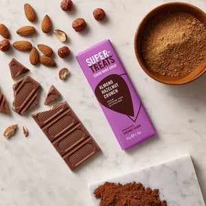 Supertreats Almond Hazelnut Crunch carob chocolate bar with pieces of carob chocolate, carob powder and coconut sugar