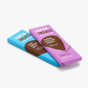 Two bars of Supertreats Carob Chocolate. One bar Silky Smooth Mylk; the other Almond Hazelnut Crunch; one bar on top of the other.