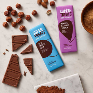 Supertreats carob chocolate bars with pieces of carob chocolate, carob powder and coconut sugar