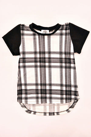 Tierra Reign Boys Drop Tail Tee Black with Black and White Plaid
