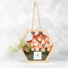 Load image into Gallery viewer, Roses in a wooden bag