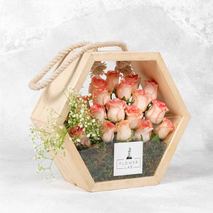 Roses in a wooden bag
