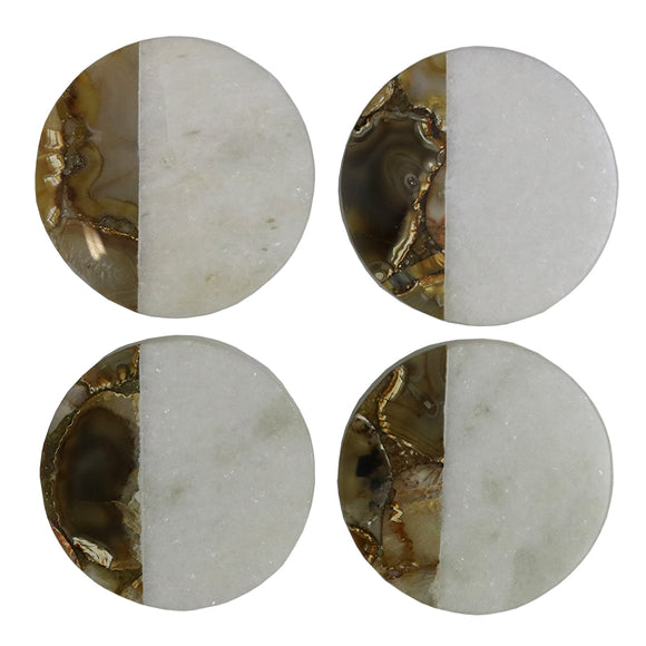 Le Forge Set 4 Marble/Agate Coaster Round/Square