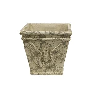 French Country Cherub Aged Square Pot