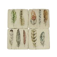 French Country Set 4 Feather Coasters