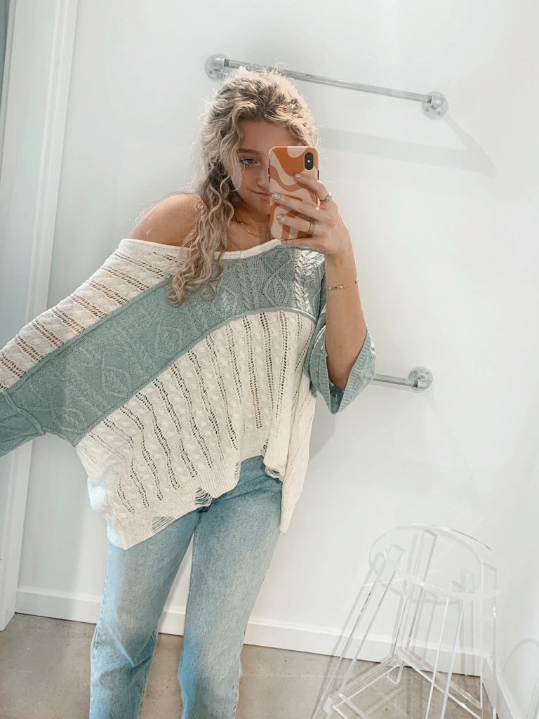 Open Knit Sweater with Stripe