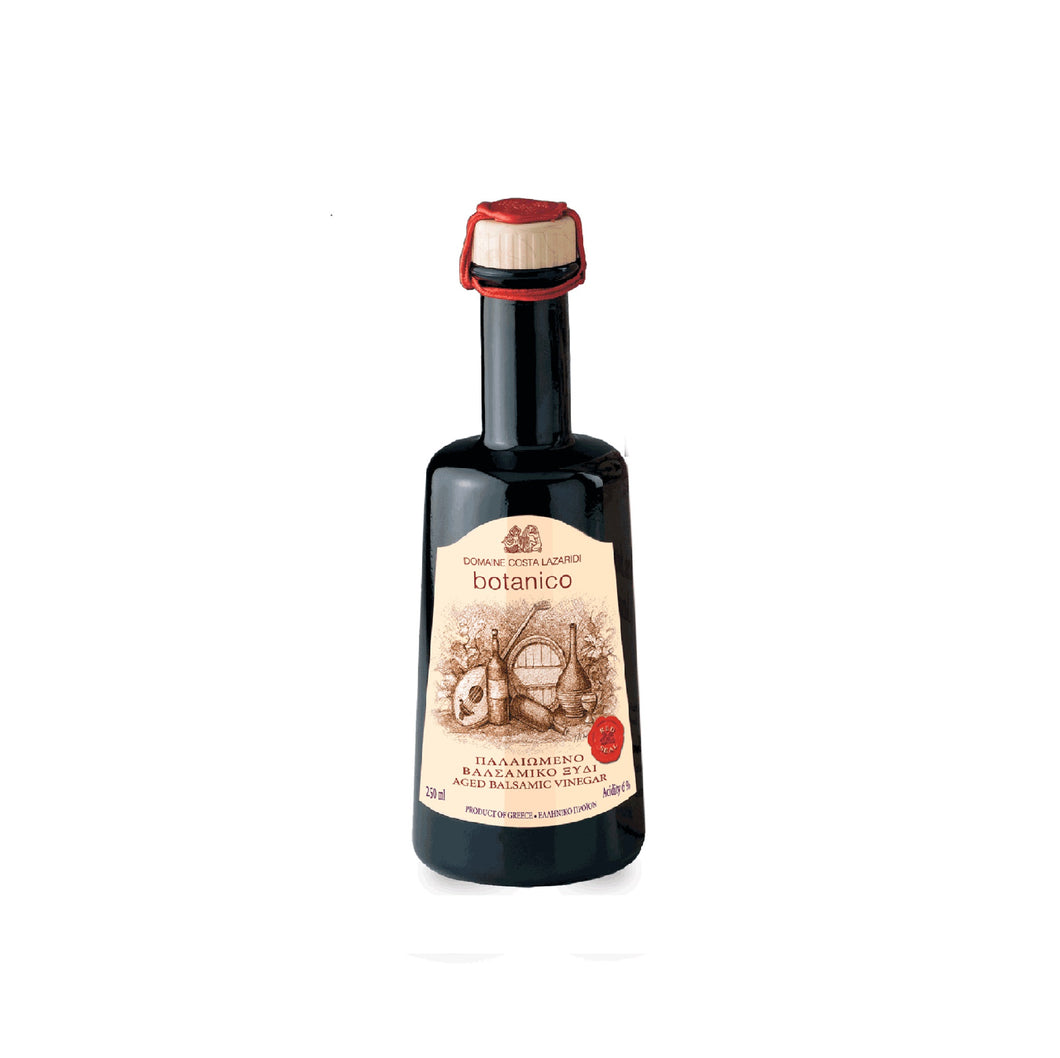 Balsamic Vinegar, Red Seal VI years aged in barrel. Produced in Greece, Imported by Alpha Omega Imports
