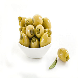Olive Chalkidikis stuffed with Jalapeno, Imported by Alpha Omega Imports, Inc.