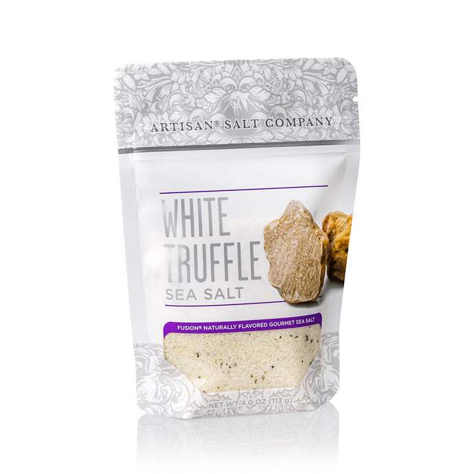White Truffle Sea Salt, Zip Top Pouch (4 oz), distributed by Alpha Omega Imports, Inc