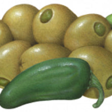 Load image into Gallery viewer, Green Olives Stuffed with Jalapeño, in Plastic Pots 1 lb