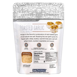 Roasted Garlic flavored Sea Salt, distributed by Alpha Omega Imports, Inc
