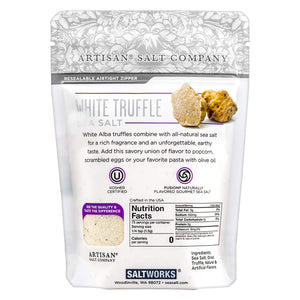 White Truffle Sea Salt, back side of Zip Top Pouch (4 oz), distributed by Alpha Omega Imports, Inc