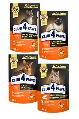"CLUB 4 PAWS PREMIUM. CIBO UMIDO PER GATTI ADULTI - LINEA ""SELECTION"""