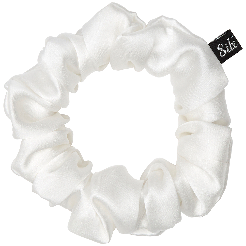 white silk scrunchie