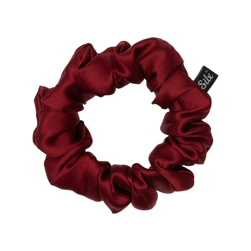 burgundy silk scrunchie