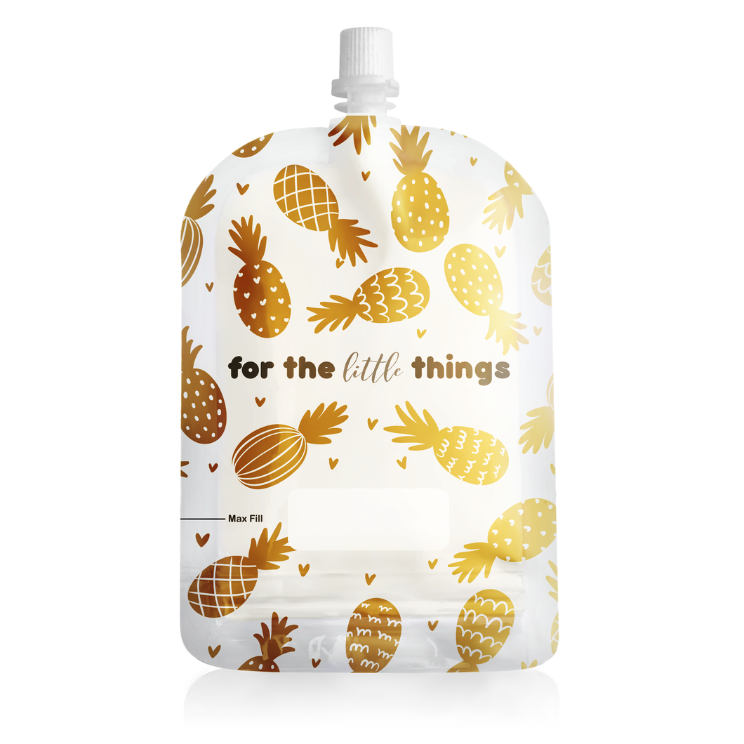 Sinchies 150ml Top Spout Reusable Food Pouches Pineapples (10pack)