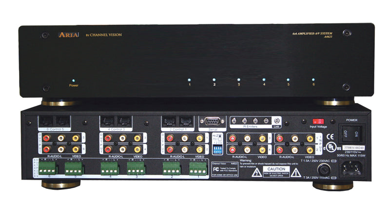 Channel Vision A4623R - 4 Input 6 Zone Amplified AV System - Rack Mount - Bulk CCTV Store