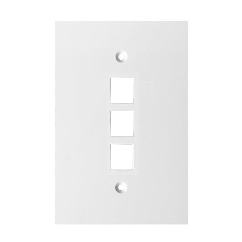 Channel Vision - G-3GOW - Oversize 3 Jack, Single-Gang Plate - White - Bulk CCTV Store