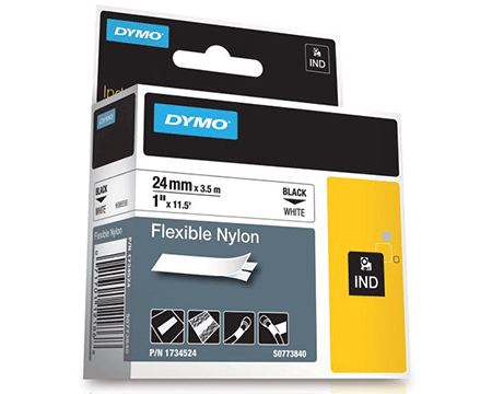 "DYMO - 1"" Flexible Nylon Labels - Black on White - Bulk CCTV Store"
