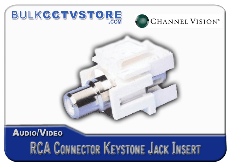 Channel Vision G-IRCA-W White RCA Connector Jack Inserts - Bulk CCTV Store