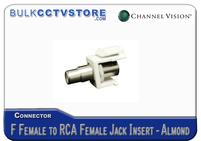 Channel Vision - J-IF-RCA-A - Jack Insert - F-female to RCA Female - Almond - Bulk CCTV Store