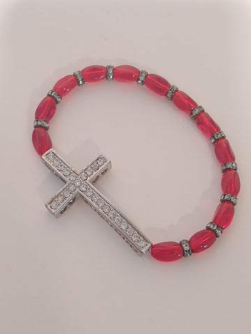 Cross Stretch Bracelet Red Crystals