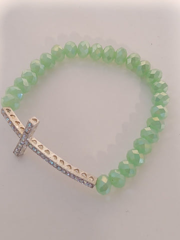 Cross Stretch Bracelet Mint Green Crystals