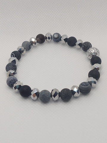 Matte Banded Black Agate and Crystals Stretch Bracelet