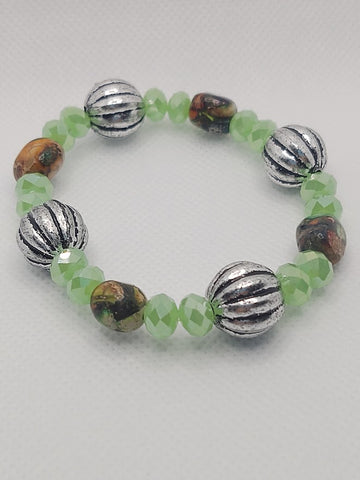 Impression Jasper and Light Green Crystals Stretch Bracelet