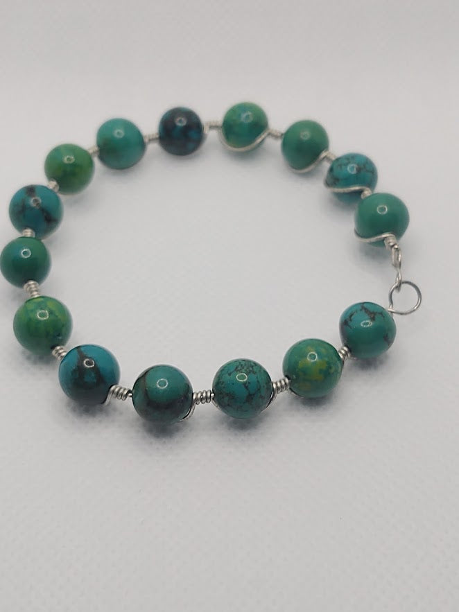 Imperial Jasper Wire-Wrapped Bangle Bracelet