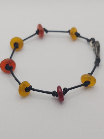 Recycled Glass (Red and Yellow) From Ghana Stacking Bracelet