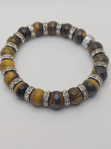 Large Tiger's Eye Rounds and Crystals Stretch Bracelet