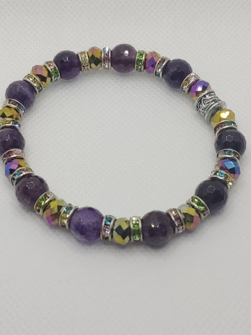 Faceted Amethyst Rounds and Multi-Color Crystals Stretch Bracelet
