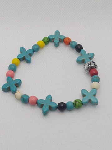Mixed Colors Celtic Cross Howlite Stretch Bracelet