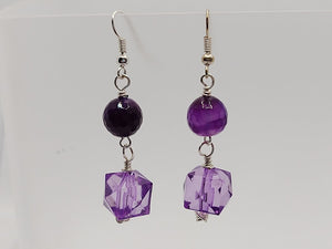 Purple Banded Agate & Purple Crystal Cube Earrings