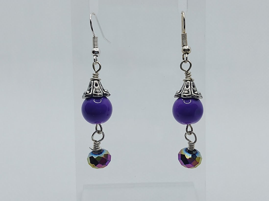Purple Ceramic Rounds & Crystal Drop Earrings