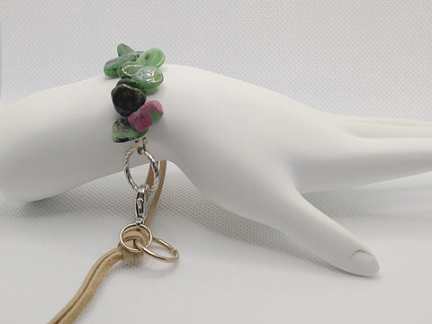 Adjustable Ruby in Zoisite Leather Bracelet