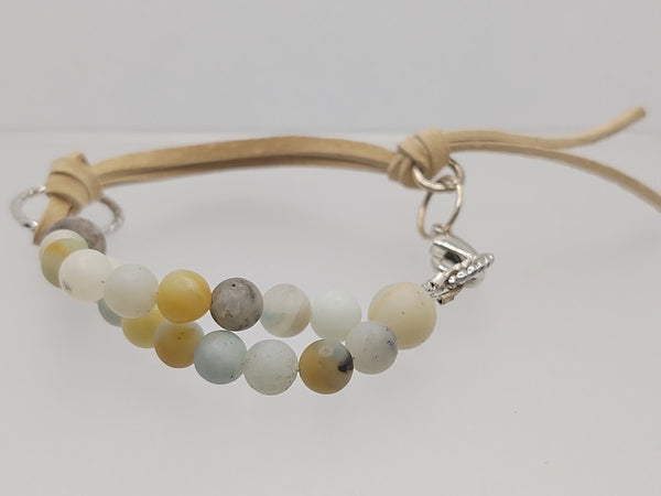 Adjustable Matte Amazonite & Tan Leather Bracelet